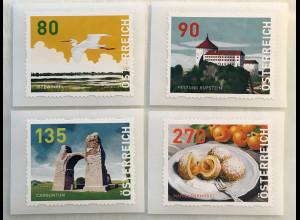Österreich 2018 Dispensermarken Nr. 9-12 Heimat Landschaften Sehenswürdigkeiten