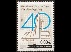 Andorra französisch 2018 Nr. 836 40 Jahre Pfarrei Escaldes-Engordany Kirche