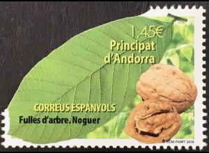 Andorra spanisch 2018 Nr. 467 Walnuss Blätter von Bäumen Flora seltene Form