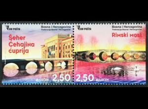 Bosnien Herzegowina 2018 Neuheit Europaausgabe Brückenmotive Europacept aus MH