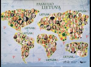 Litauen Lithuania 2018 Block 59 Litauer in aller Welt 100 Jahre Unabhängigkeit