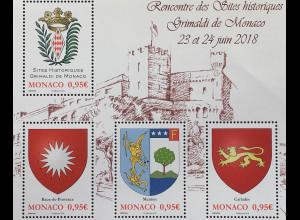 Monako Monaco 2018 Block 126 Historische Sitze der Familie Grimaldi