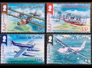 Tristan da Cunha 2018 Nr. 1297-1300 Jubiläum 100 Jahre Royal Airforce Luftwaffe