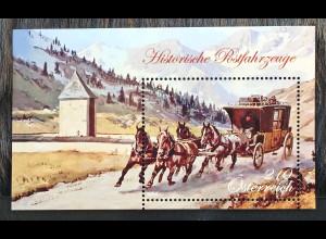 Österreich 2018 Block 100 Historische Postfahrzeuge Postkutsche Tauernstraße