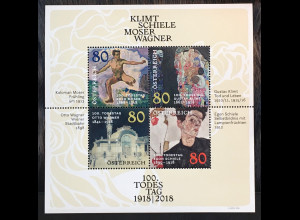Österreich 2018 Block 101 Todestage Gustav Klimt Egon Schiele Otto Wagner Moser