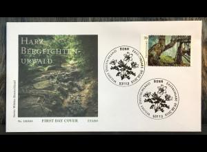 Bund BRD Ersttagsbrief FDC Nr. 3410 9. August 2018 Wildes Deutschland Harz Wald
