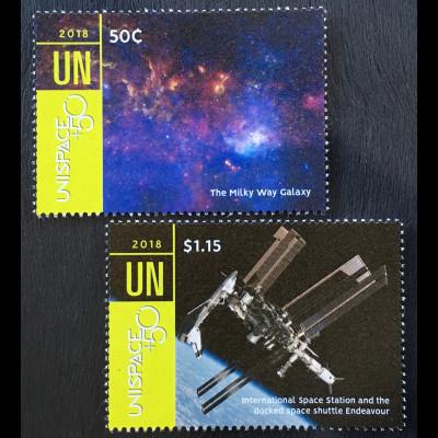 Vereinte Nationen UN UNO New York 2018 Nr. 1661-62 UNISPACE Frieden im Weltall
