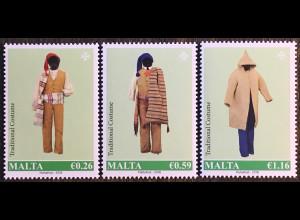 Malta 2018 Michel Nr 2002-04 Maltesische Trachten Folklore Kleidung Bauerntracht