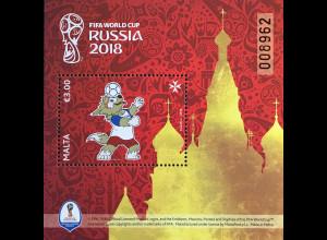 Malta 2018 Block 77 Fußballweltmeisterschaft in Russland Fifa World Cup Fußball