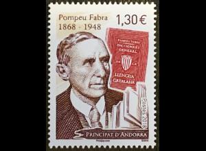 Andorra französisch 2018 Nr. 837 150. Geburtstag von Pompeu Fabra Philologe