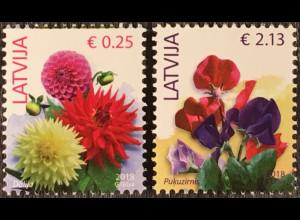 Lettland Latvia 2018 Nr. 930-33 Freimarken Blumen Jahreszahl 2018