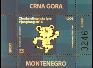 Montenegro 2018 Block 23 Olympische Winterspiele Maskottchen Tiger