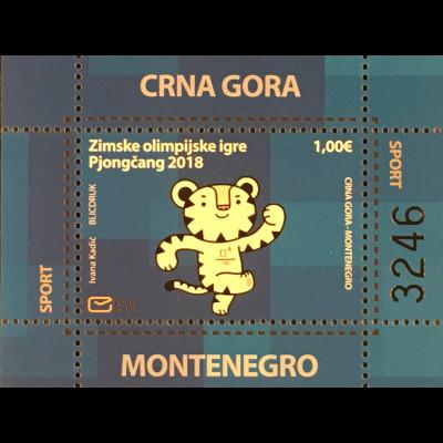 Montenegro 2018 Neuheit Olympische Winterspiele Maskottchen Tiger
