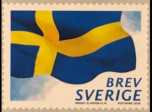 Schweden Sverige 2018 Neuheit Rollenmarken Schwedische Flagge