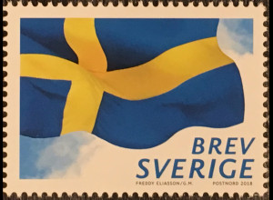Schweden Sverige 2018 Neuheit Bogenmarke Schwedische Flagge