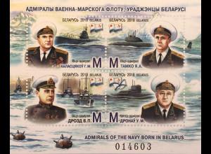 Weißrussland Belarus 2018 Block 166 Admiräle und Vizeadmiräle Militär Soldaten