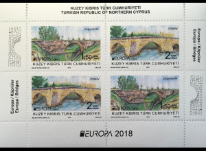 Zypern türkisch Cyprus Turkish 2018 Block 34 Europaausgabe Brückenmotive Bridges