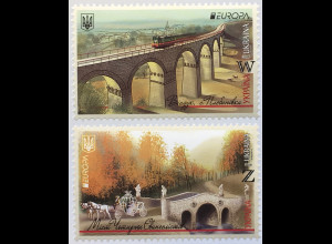 Ukraine 2018 Michel Nr. 1689-90 Europaausgabe Brückenmotive Bridges Europacept