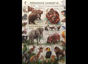 Tschechische Republik 2018 Block 72 Zoologische Gärten Tiere Fauna Zoologie