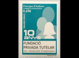 Andorra spanisch 2018 Nr. 471 10 Jahre Fundacio Privada Tutelar Humanität