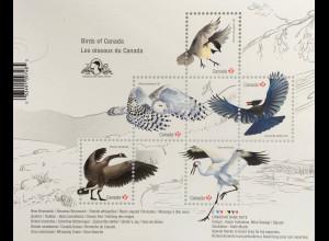 Kanada Canada 2018 Block 279 Vögel in Kanada Fauna Schneeeule Reiher Block