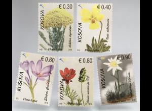 Kosovo 2018 Nr. 434-38 Flora Blumen Edelweiß Krokus Holunder Stiefmütterchen