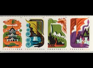 USA Amerika 2018 Nr. 5526-29 Drachen Dragons Marken mit Lacküberzug Glitzerfolie