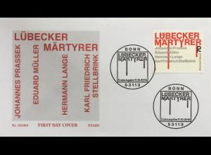 Bund BRD Ersttagsbrief FDC Nr. 3417 Lübecker Märtyrer