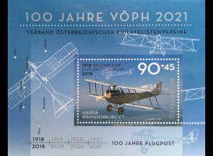 Österreich 2018 Block 102 100 Jahre Flugpost Österreichischer Philatelisten