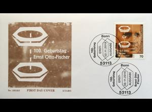 Bund BRD Ersttagsbrief FDC Nr 3420 2. November 2018 100 Jahre Ernst Otto Fischer
