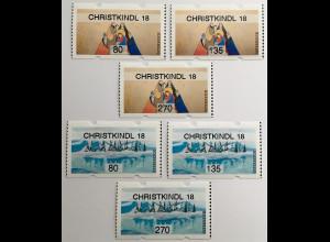 Österreich 2018 Automatenmarken Nr. 56-57 Weihnachten Christkindl Heilige Könige