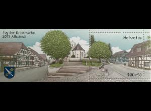 Schweiz 2018 Block 70 Tag der Marke Dorfplatz in Allschwil Kanton Basel