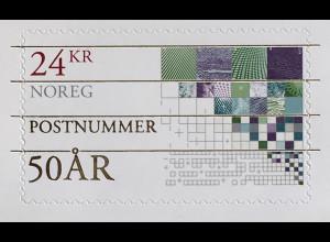 Norwegen 2018 Neuheit Postleitzahlen Briefmarke mit Goldschrift