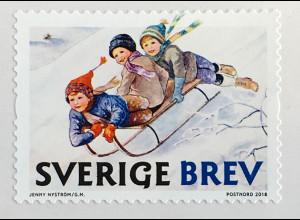 Schweden Sverige 2018 Neuheit Rollenmarke Weihnachten Schlittenfahrt Winter