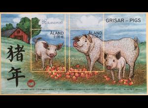 Aland 2018 Block 18 Jahr des Schweins Lunarserie Schweinefamilie Bauernhof