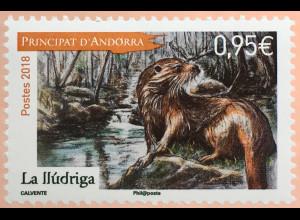 Andorra französisch 2018 Nr. 840 Naturschutz Tiere Fischotter Fauna Wildtiere