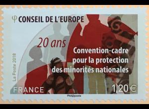 Frankreich France 2018 Dienstmarke Nr. 77 20 Jahr Schutz nationaler Minderheiten