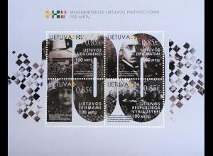 Litauen Lithuania 2018 Block 61 100 Jahre moderne staatliche Institutionen