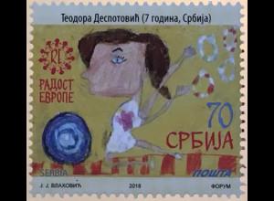 Serbien Serbia 2018 Nr. 818 Freude Europas Kinderzeichnung Kinderkunst