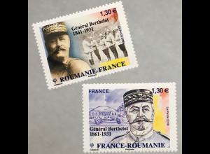Frankreich France 2018 Nr 7221-22 General Berthelot Paralellausgabe mit Rumänien