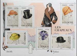 Frankreich France 2018 Block 416 Hüte Mode Kopfbedeckungen Les Chapeaux