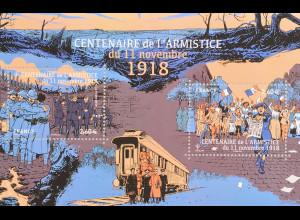 Frankreich 2018 Block 423 100. Jahrestag der Beendigung des Ersten Weltkrieges