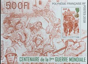 Polynesien französisch 2018 Neuheit 100 Jahre Ende 1. Weltkrieg Geschichte Block