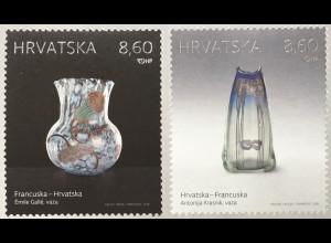 Kroatien Croatia 2018 Nr 1346-47 Glaskunst Jugendstil Paralellausgabe Frankreich