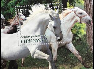 Kroatien Croatia 2018 Block 72 Geschützte Pferderassen Lipizzaner Tiere Horse