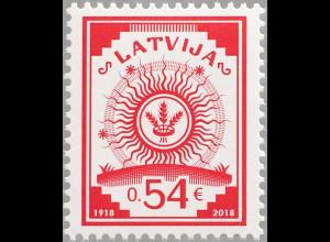 Lettland Latvia 2018 Michel Nr. 1060 100 Jahre lettische Briefmarken