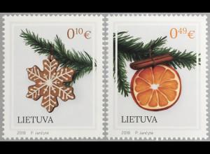 Litauen Lithuania 2018 Nr 1297-98 Weihnachten Christmas Natale Weihnachtsmotiv