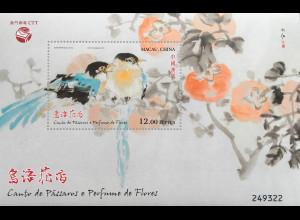 China Macau Macao 2018 Block 275 Gemälde Kunst Vögel Blumen