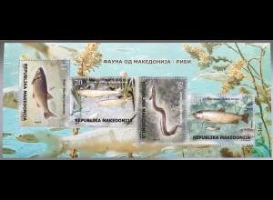 Makedonien Macedonia 2018 Block 36 Fauna Fische Ichthyologie Tiere Aal Lachs
