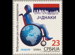 Serbien Serbia 2018 Nr. 839 Tag der Menschen mit Handicap Rollstuhl